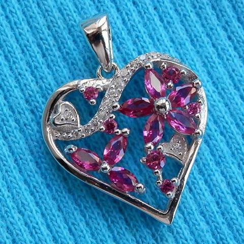 Heart pendant silver 925 ruby stone rhodiumplate