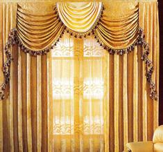 Double swag shower curtain with matching window curtain