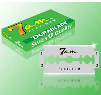 DURABLADE SWISS QUALITY 7AM PLATINUM COATED DOUBLE EDGE RAZOR BLADES