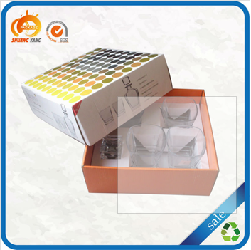 Offset printing custom made cheap rigid cardboard wine glass boxes
