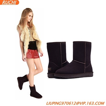 Wholease cow leather and sheepskin winter boots