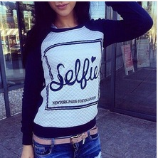 4573 New Fashion 2014 Women Hoody Spring Autumn Sportswear Patchwork Letter Printed Sweatshirts Casual Pullovers