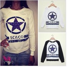 4750 New Fashion 2014 Women Hoodies Spring Autumn Sportswear Letter Print Pullovers Fleece French Terry Sweatshirts