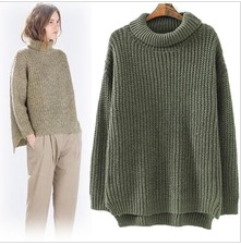 14463 New Fashion 2014 Autumn Winter Western Style Long Sleeve Turtleneck Pure Color Woman Loose Pullover Knitted Sweater