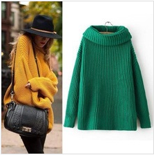 14462 New Fashion 2014 Autumn Winter Western Style Long Sleeve Turn Down Collar Pure Color Woman Loose Pullover Knitted Sweater