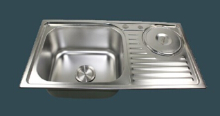 82x45cm 0.8mm deep stainless steel sink bowl with waste bin