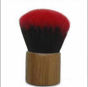 Professional Kabuki Makeup Brush with Bamboo Handle and Two-color Nylon Hair Tip
