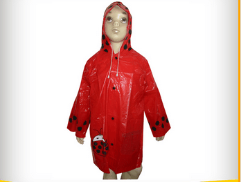 Red PVC Rain jacket with printing