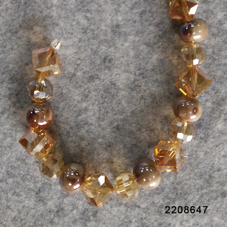 Faceted Cube(DD) and Round Champagne Glass Beads