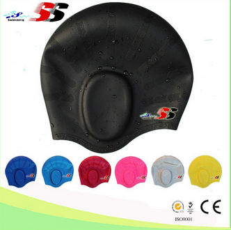 Prevent Water Elastic Silicone Swimming Swim Cap Warmer Ear Protective Hat Leopard Print Swimming Cap