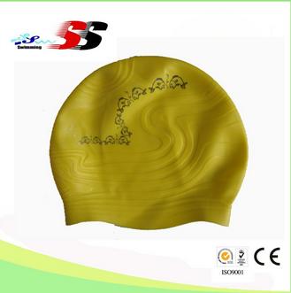 unisex swim cap, factory suppying, blue color embossed silicone swim cap, 100% silicone swim cap