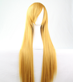 Cosplay Wig Oblique Bangs Long Straight Human Wigs 80cm 32 inch Costume party synthetic hair wig