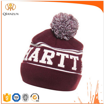 Custom Burgundy Pom Pom Beanie Hats Wholesale