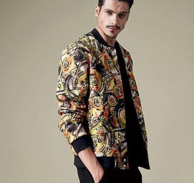 The 2015 men's casual fashion print Hooded Jacket