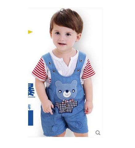 The decimal point Baby Bib Kids Summer Cotton Shorts denim pants boy cartoon children summer thin section