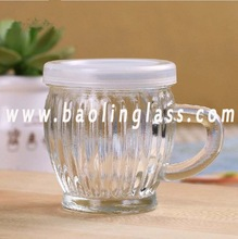 Milk Glass Bottle with Handle Glass Cup