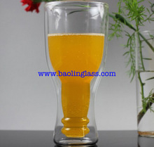 Creative Double Walled Upside Down Beer Bottle Style Glass Cup