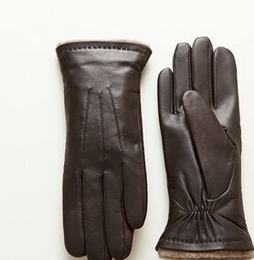 2015 new product ladies warm goat leather gloves with wool lining