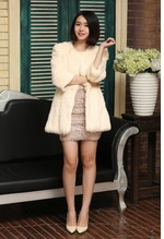 Lady's Rex Rabbit Jacket / rex White Real Rex Rabbit Fur Coat