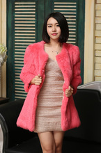 High Quality Winter Coat Women Pink Rabbit Fur Coat / Korean Style Rabbit Fur Coat