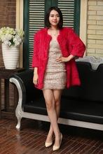 High Quality 2015 European Style Lady's Real Black Rabbit Fur Coat / Rabbit Jacket