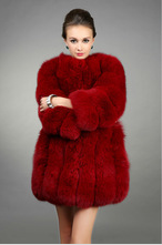 2015 European style fox fur nude color women fashion coats