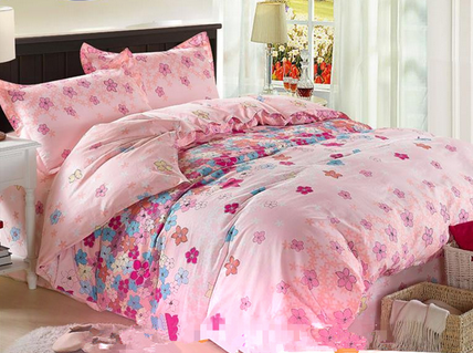 200TC cotton printed bed cover and sheet set