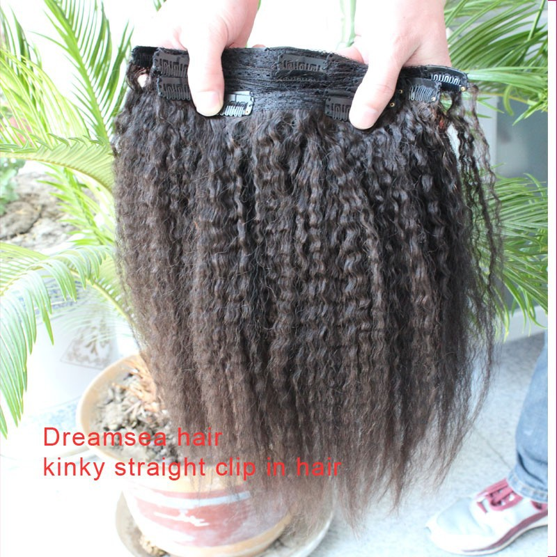 Jet black 1 thick full ends natural soft virgin human hair clip in hair extensions kinky straight clip ins