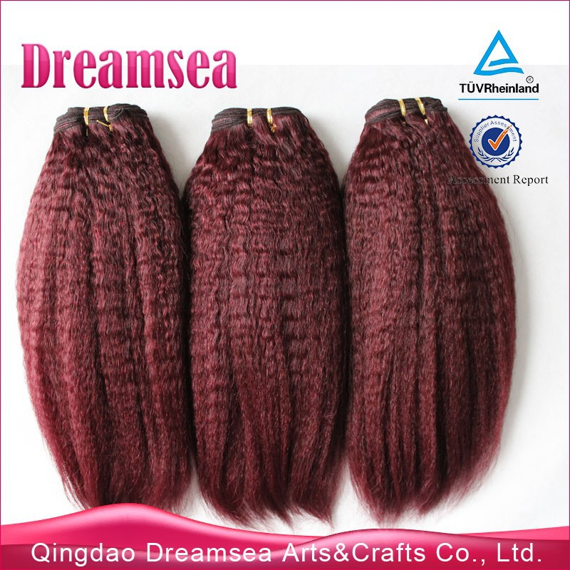 Unprocessed human hair indian kinky coarse yaki straight 3pcs/lot red hair extensions weft