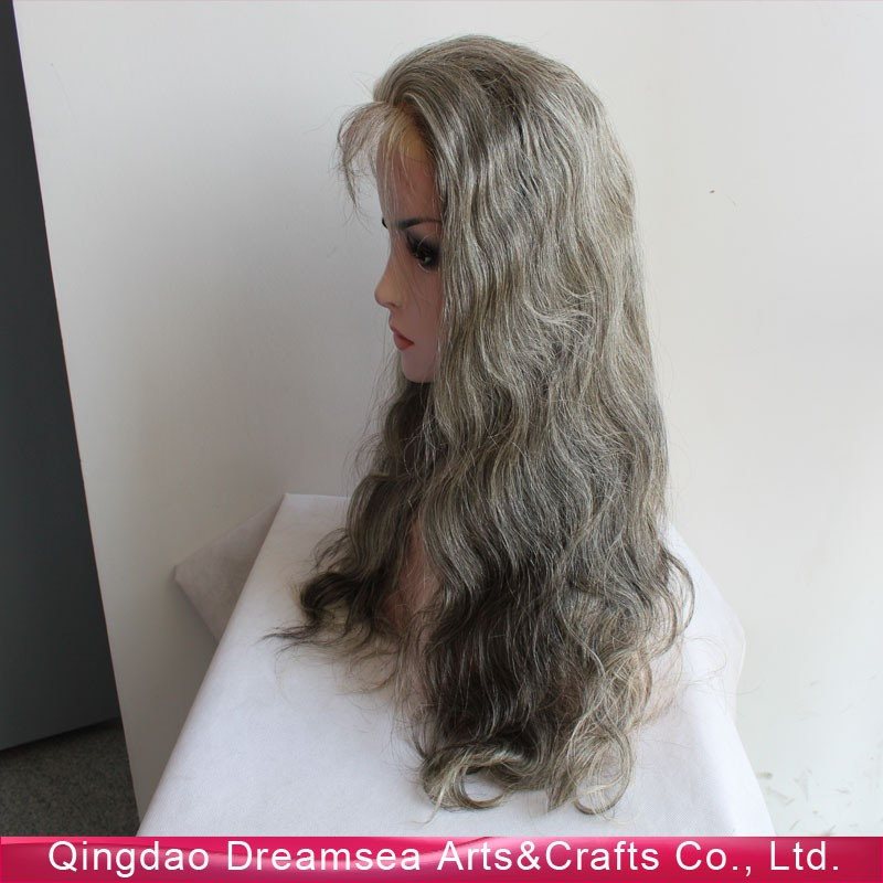Mongolian virgin unprocessed human hair lace wigs for old women gray hair topper