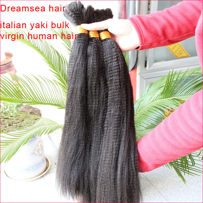 Virgin mongolian human hair coarse yaki straight hair bulk unprocessed