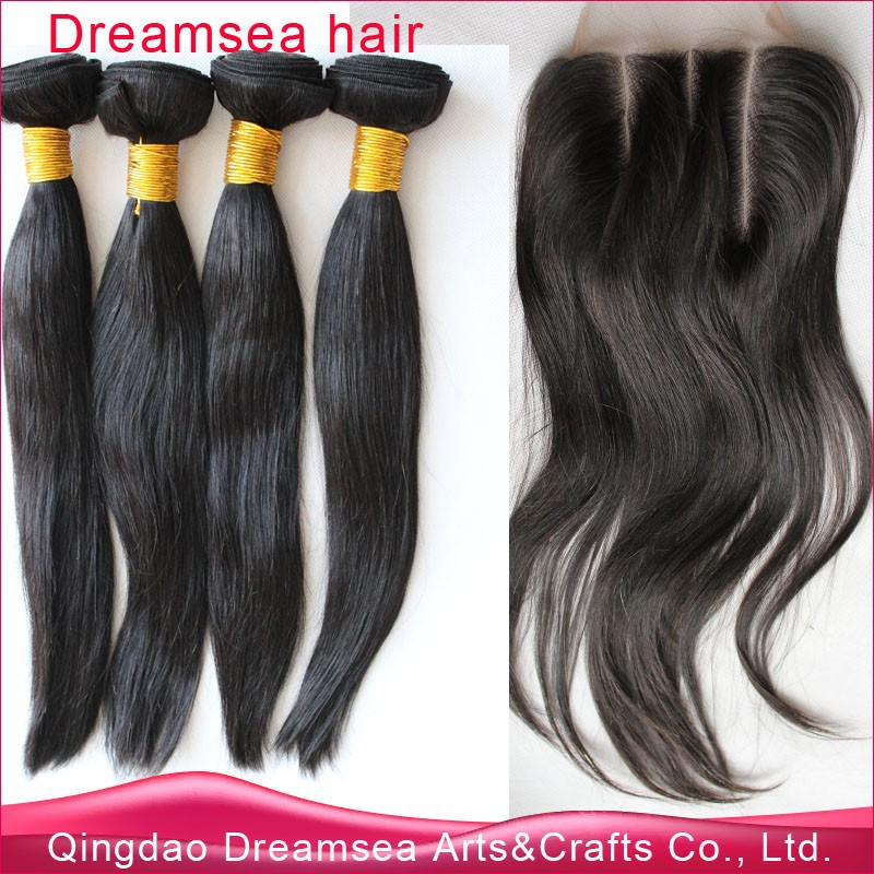 Straight virgin brazilian hair with one 3 part lace closure human hair extension for front