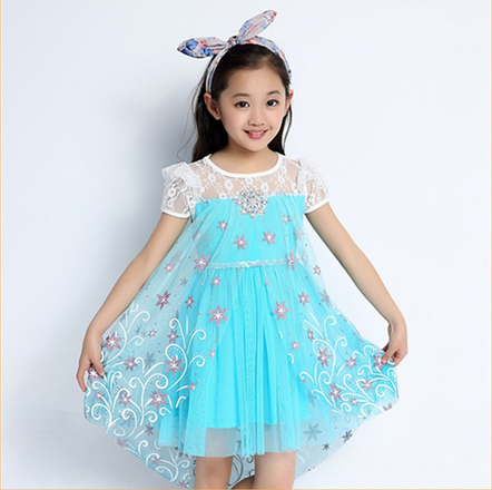 2015 Wholesale Child Clothes short sleeve pink blue frozen elsa dress for 3-10 year old