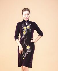 HS015 Chinese Elegant Plus Size Velvet Dress Vintage Cheongsam for Fat Women