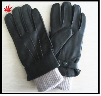 men's deerskin leather gloves with knitting leather gloves