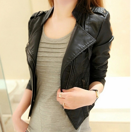 Locomotive han edition washed leather female small coat of cultivate one's morality short jacket 2015 spring new pu leather fema