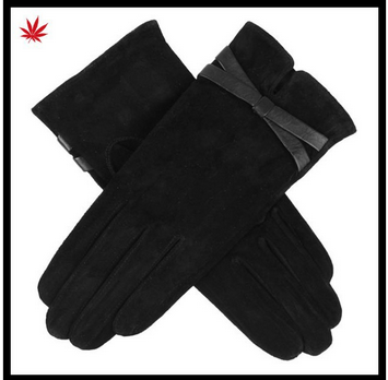 new style fashion suede leather glove for lady