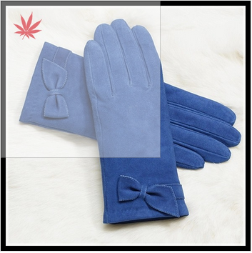high quality girls in fashion suede leather glove with bow