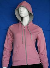 Fashion women zip jersey plain hoodies