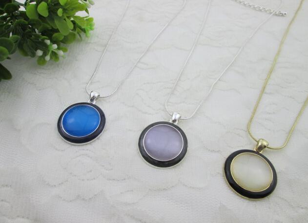 round enamel high quality cateye women necklaces