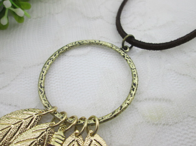 See larger image customized leaf metal feather necklace design