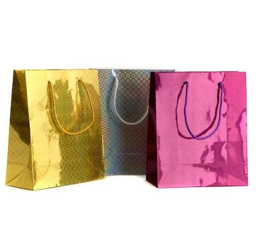 Highlight glossy paper shopping bag , retail paper bag for cosmatic