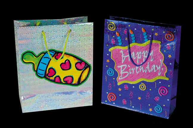 Hologram Paper custom design paper bag for retail and promotioin , shopping carry bag