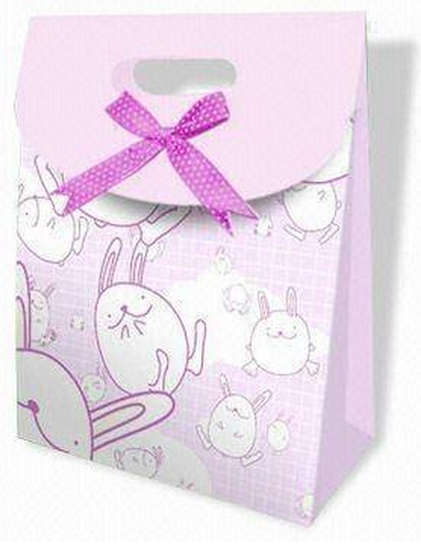 Funny bunny paper shopping bag , customized shopping paper bag for retail and promotion
