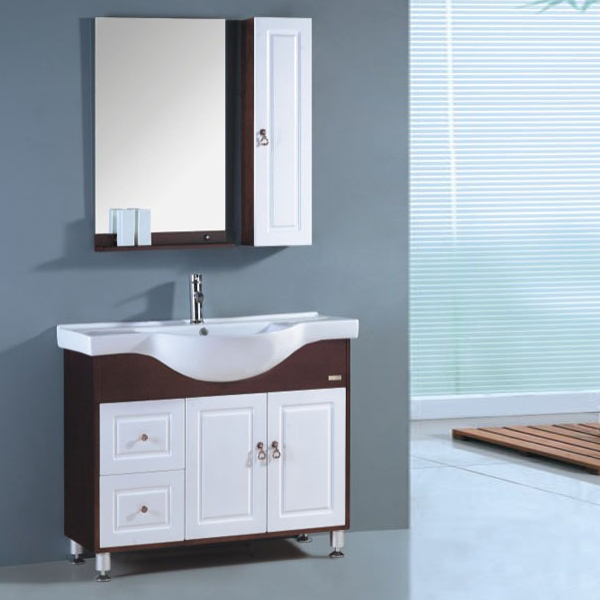 Modern 100cm Oak Solid Wood Floor Mounted Bathroom Cabinet With Mirror