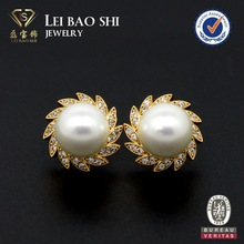 Real Gold plating brass jewelry pearl stud fashion jewelry earring with CZ stones