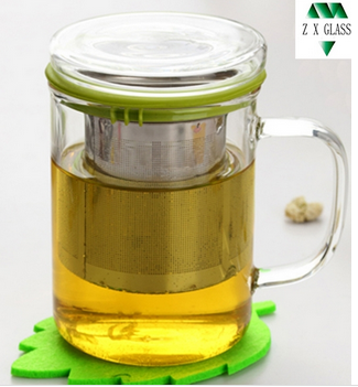 350ml borosilicate glass tea cup set 3 for 1 with s/s infuser glass cap /glass tea mug set 3 for 1 with s/s filter glass lid