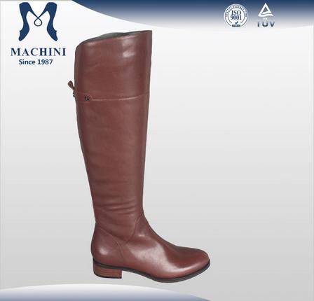 2015 Latest knee high genuine leather black women shoe booties