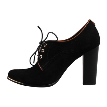 Lace up black patent leather chunky heel ankle boots
