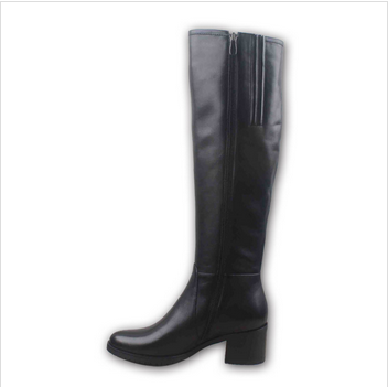 Black leather ladies fashion knee high fur lined leather boot